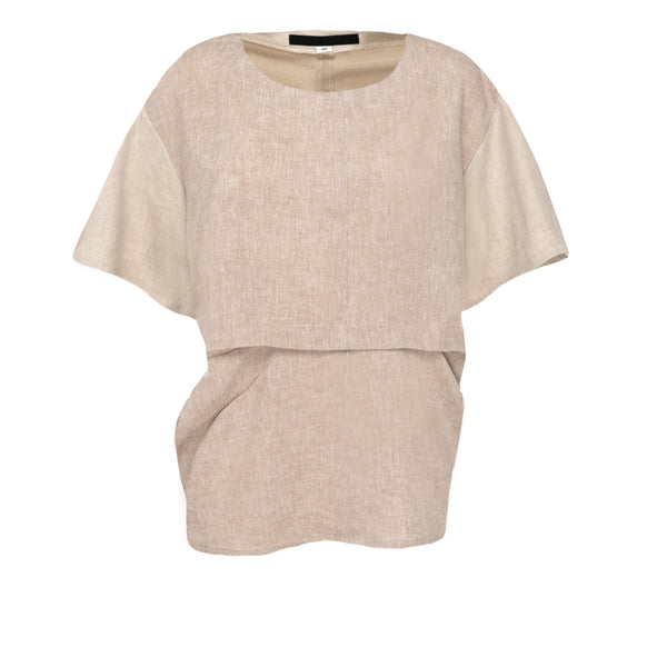 Beige Block Pleat Top