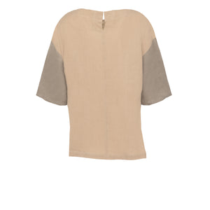 Beige Green Block Pleat Top