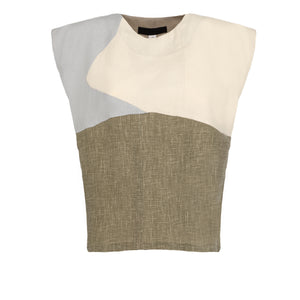 Grey Green Block Top