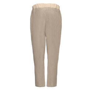 Beige Stripe Block Trousers