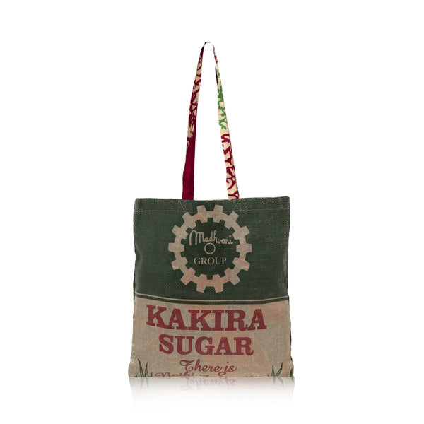 Recycled Tote Bag / Cream Red Wax Print Lining / RECYCLED SACK BAG / Made in Uganda / Upcyled / Limited Edition
