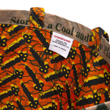 Load image into Gallery viewer, Tote Bag / Orange Black Key Wax Print Lining / Recycled Ankara TOTE BAG / Made in Uganda / Upcyled / Limited Edition