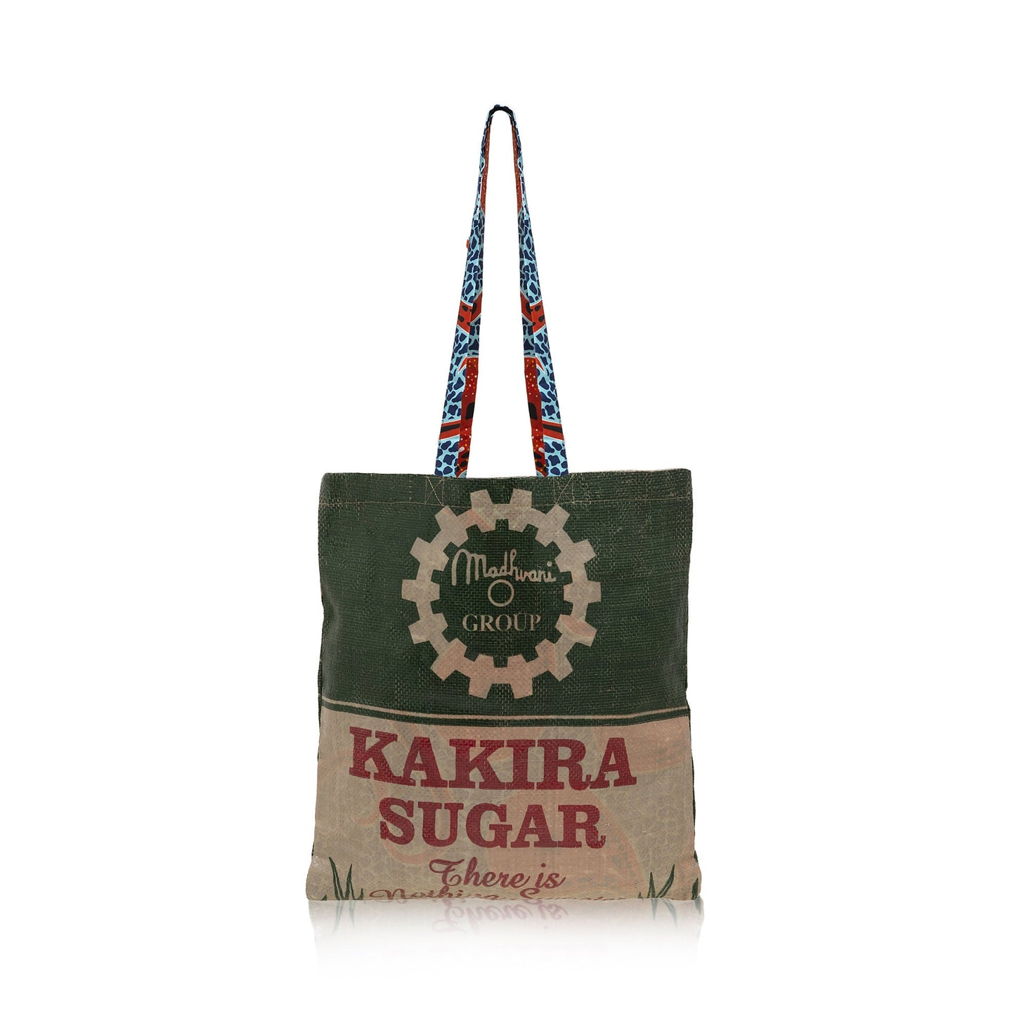Recycled Tote Bag / Blue Brown Wax Print Lining / RECYCLED SACK BAG / Made in Uganda / Upcyled / Limited Edition