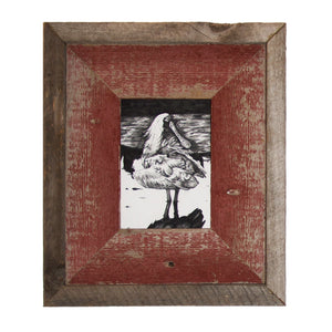 """Spoonbill,"" ink drawing with handmade barnwood frame"