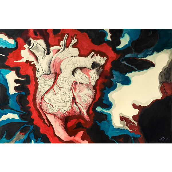 """Bleeding Heart,"" Original Ink and Watercolor Painting"