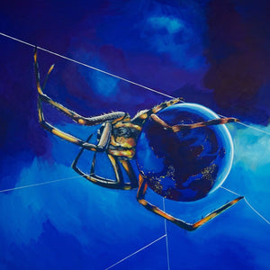 """Globe Weaver: Invisible Infrastructure,"" Original Painting"