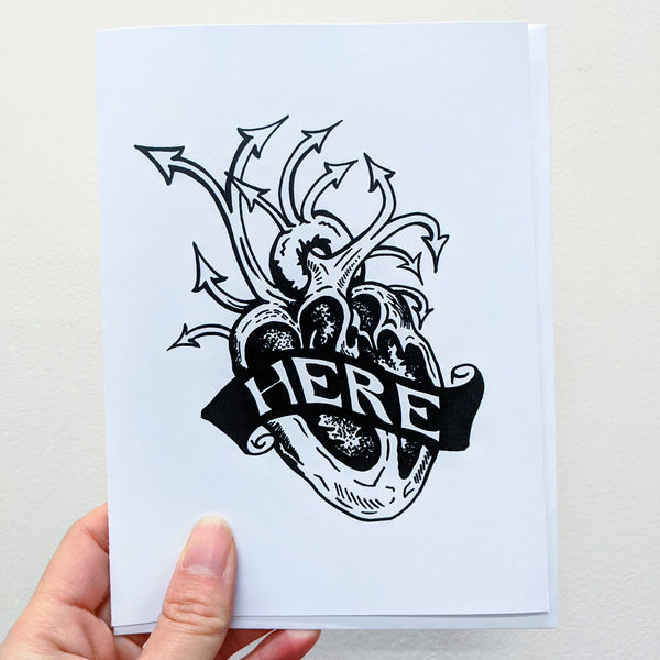 """Here"" greeting card pack"