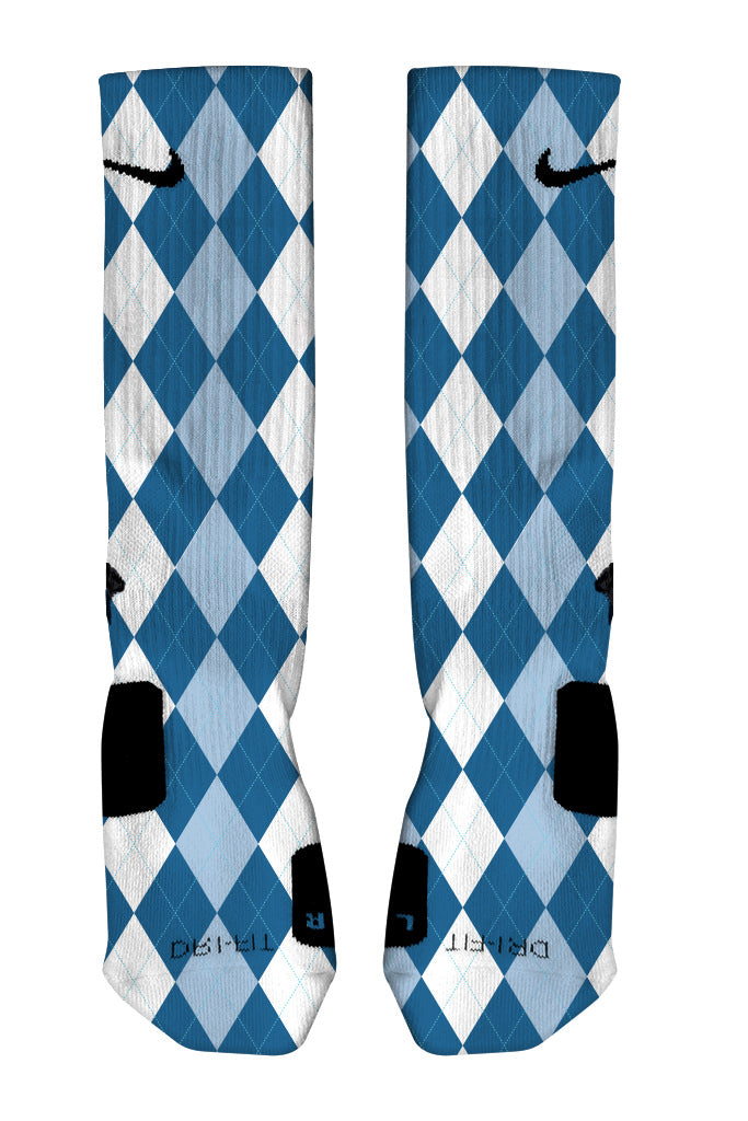 Argyle Blue Custom Nike Elite Sock Front View