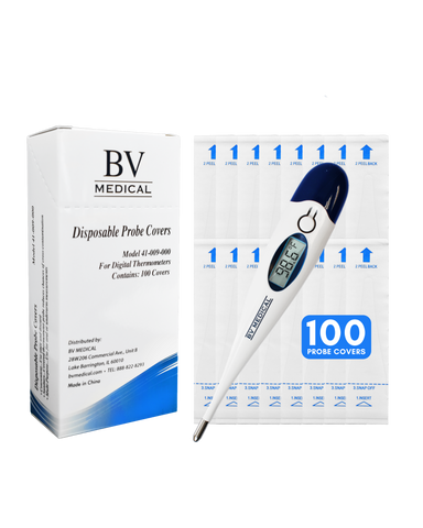 BV Medical Digital Thermometer with 100 Probe Covers