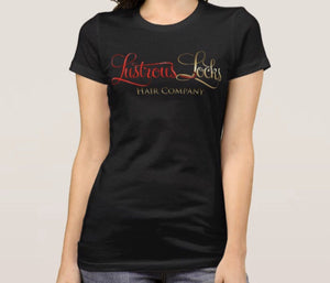 Black Lustrous Locks Scoop Neck Signature Tee - Lustrous Locks Hair Co.