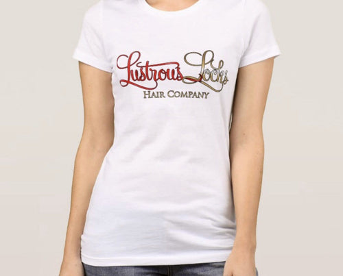 White Lustrous Locks Signature Tee - Lustrous Locks Hair Co.