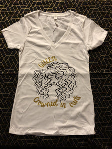 White V-Neck Crowned in Curls Tee - Lustrous Locks Hair Co.