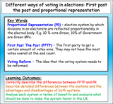 Voting Systems - First Past the Post and Proportional Representation