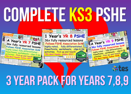 3 Year Pack - Complete Secondary PSHE and RSE KS3 (PLUS STATUTORY CITIZENSHIP, RE + TUTOR TIME PACKAGE)