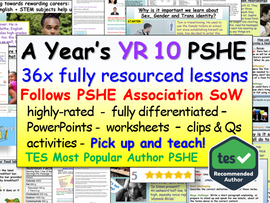 Complete Year 10 PSHE and RSE
