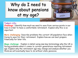 Finance - Pensions and Retirement PSHE lesson