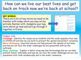 Back to school after lockdown (Recovery Transition Curriculum) COVID 19 KS4 KS5