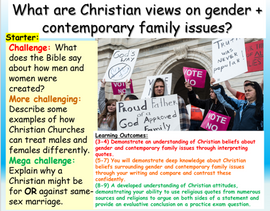 Christianity, Gender and Family / LGBT AQA RE GCSE
