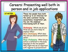 Personal Presentation and Cover Letters - Careers Lesson