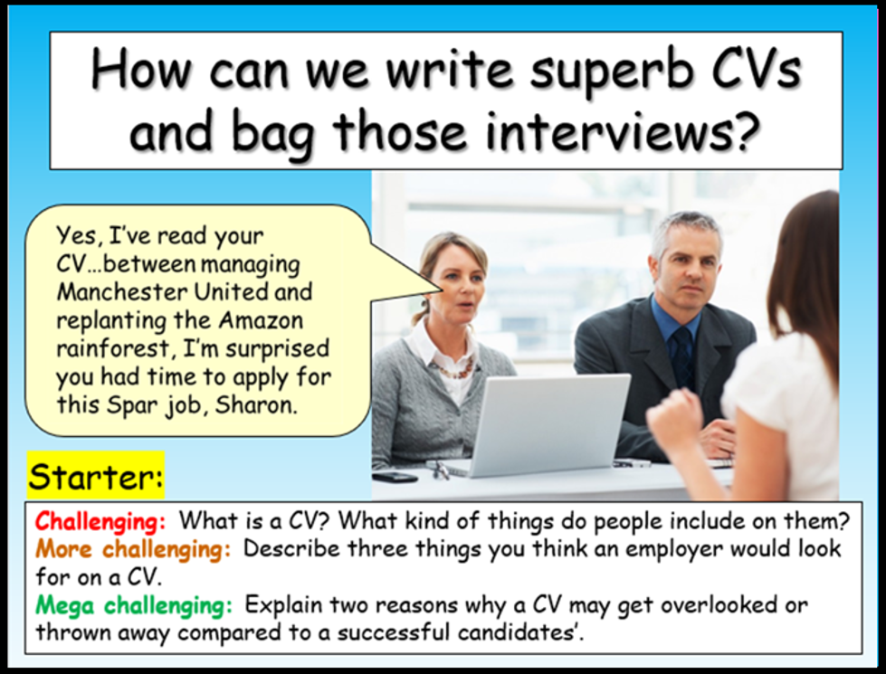 CV Writing - Careers Lesson
