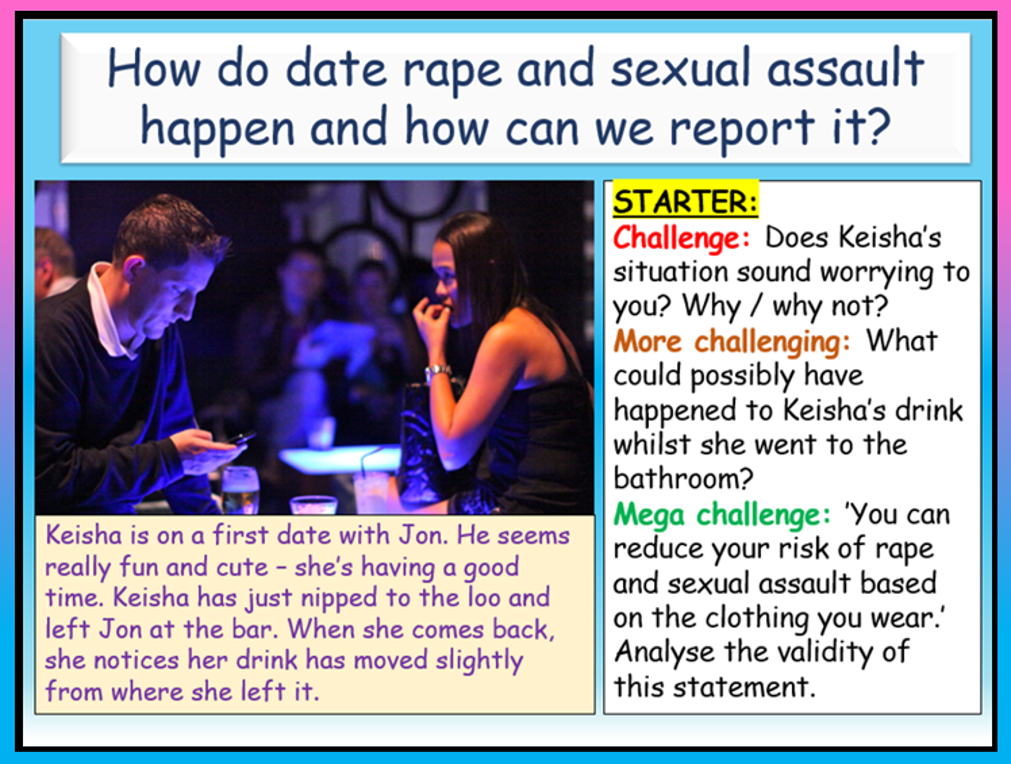 Date Rape and Sexual Assault PSHE