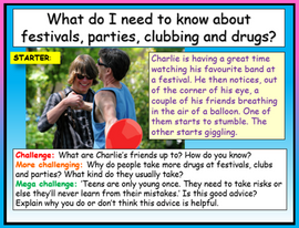 Drugs at festivals, clubs and parties