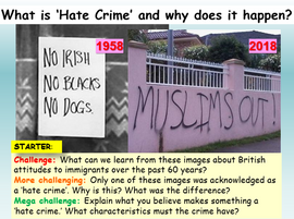 Hate Crime - Extremism PSHE Lesson