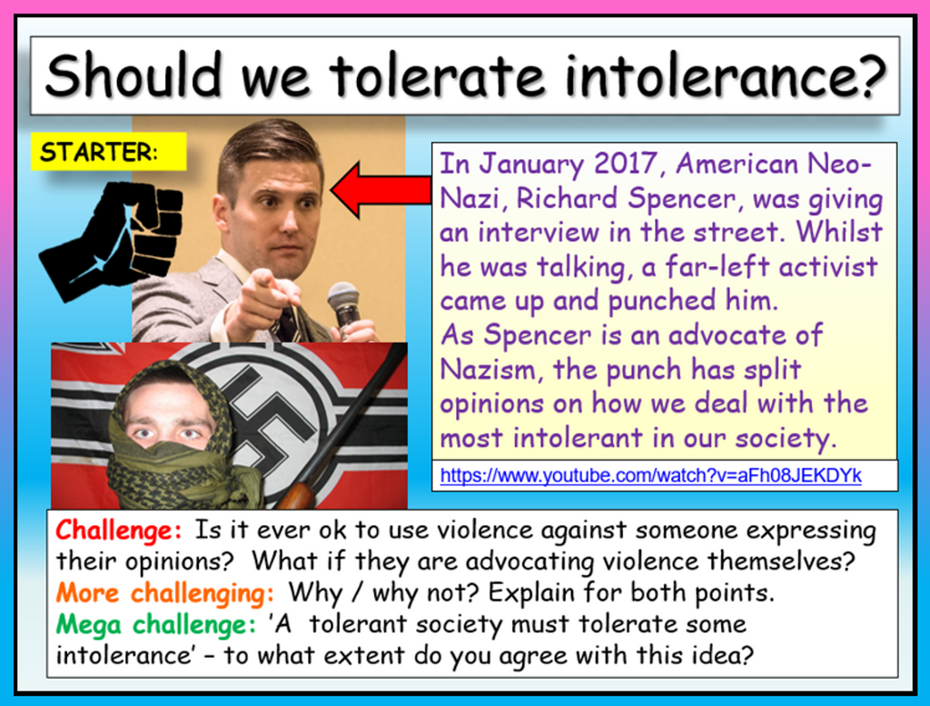 Tolerating Intolerance (Radicalisation and Extremism lesson)
