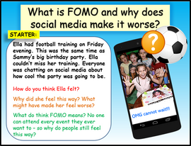 Social Media & Fear of Missing Out - KS3 (Lower ability & SEN)