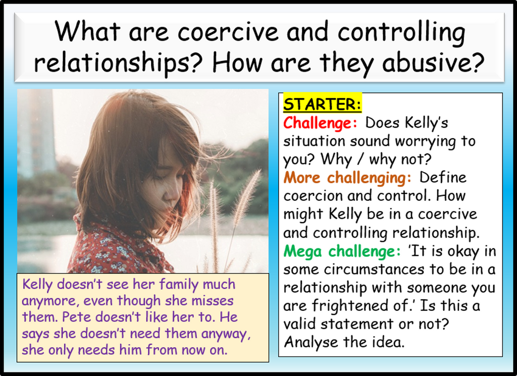 Coercive and Controlling Relationships RSE / PSHE Lesson