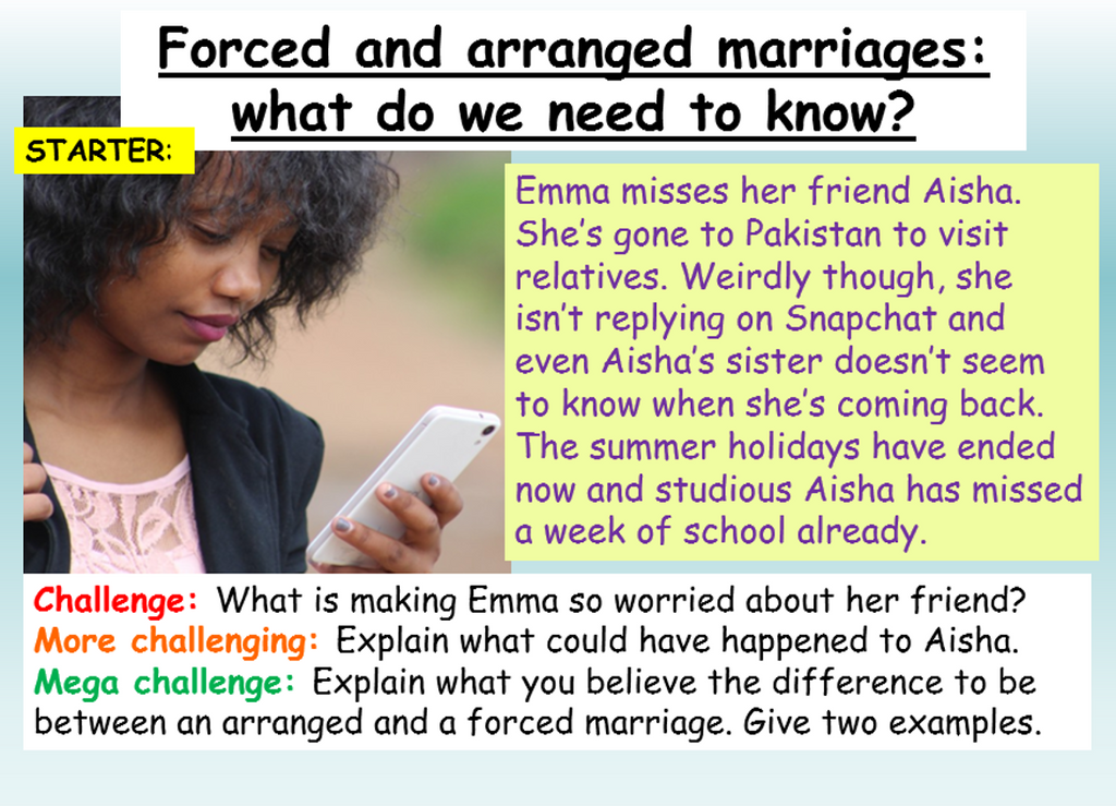 Forced Marriage PSHE Lesson
