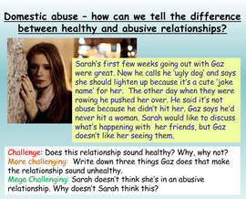 Abusive Relationships PSHE Lesson