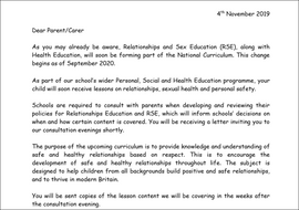 Letter to Parents about Relationships and Sex Education PSHE 2020