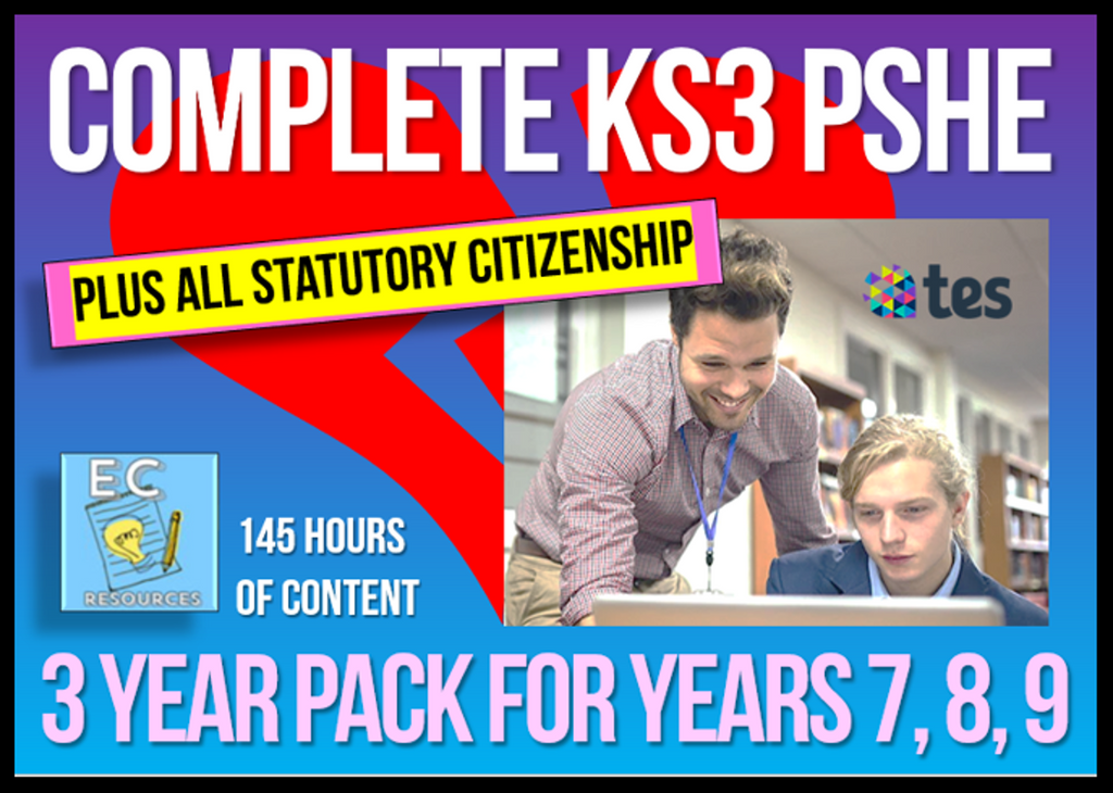 3 Year Pack - Complete Secondary PSHE and RSE KS3 (PLUS STATUTORY CITIZENSHIP)