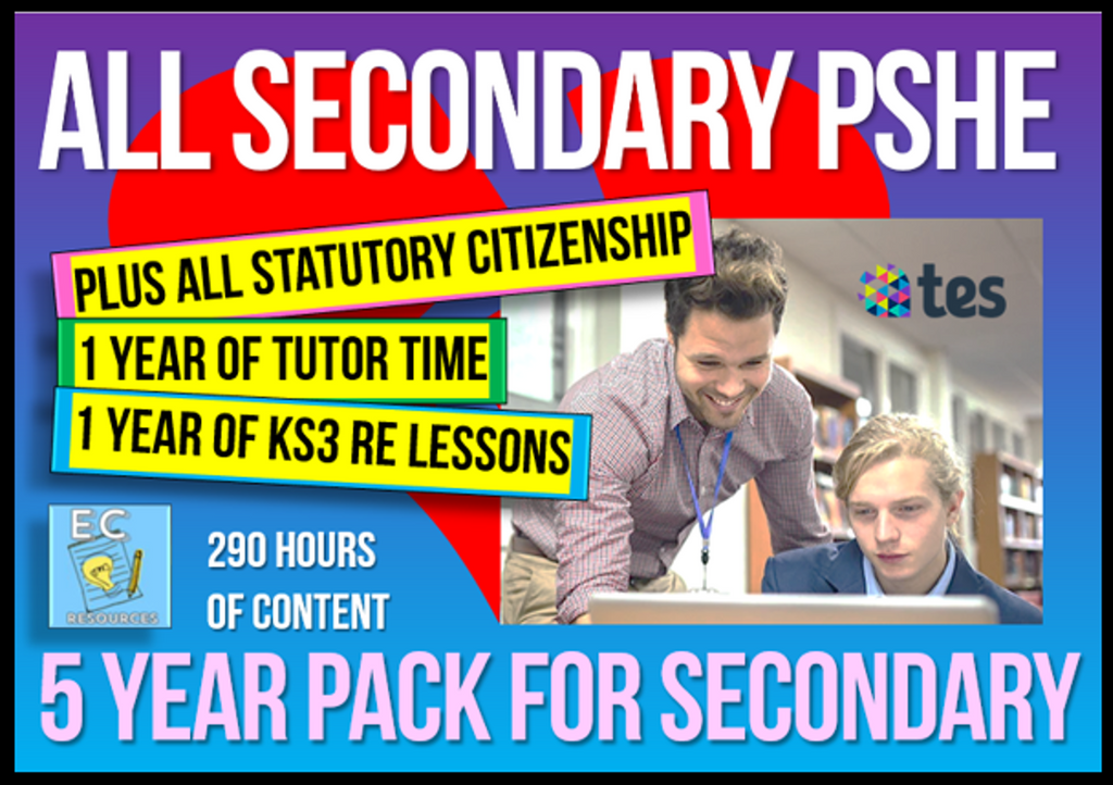 5 Year Pack - Complete Secondary PSHE and RSE KS3 & KS4 (PLUS STATUTORY CITIZENSHIP, RE + TUTOR TIME PACKAGE)