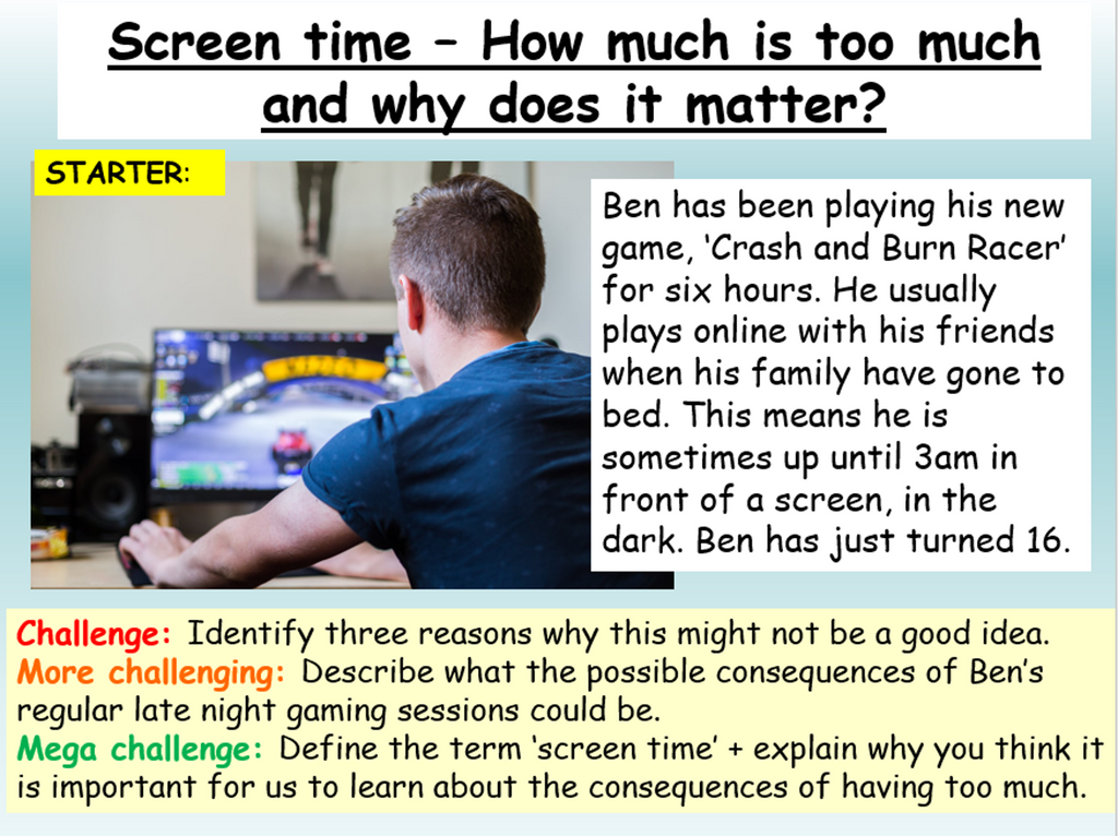Screen Time PSHE Lesson