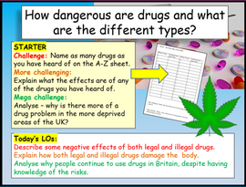 Drugs and UK Classifications PSHE Lesson