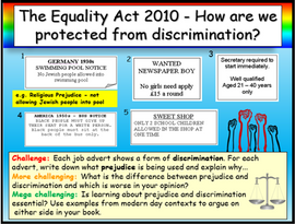 The Equality Act 2010 + Discrimination PSHE Careers