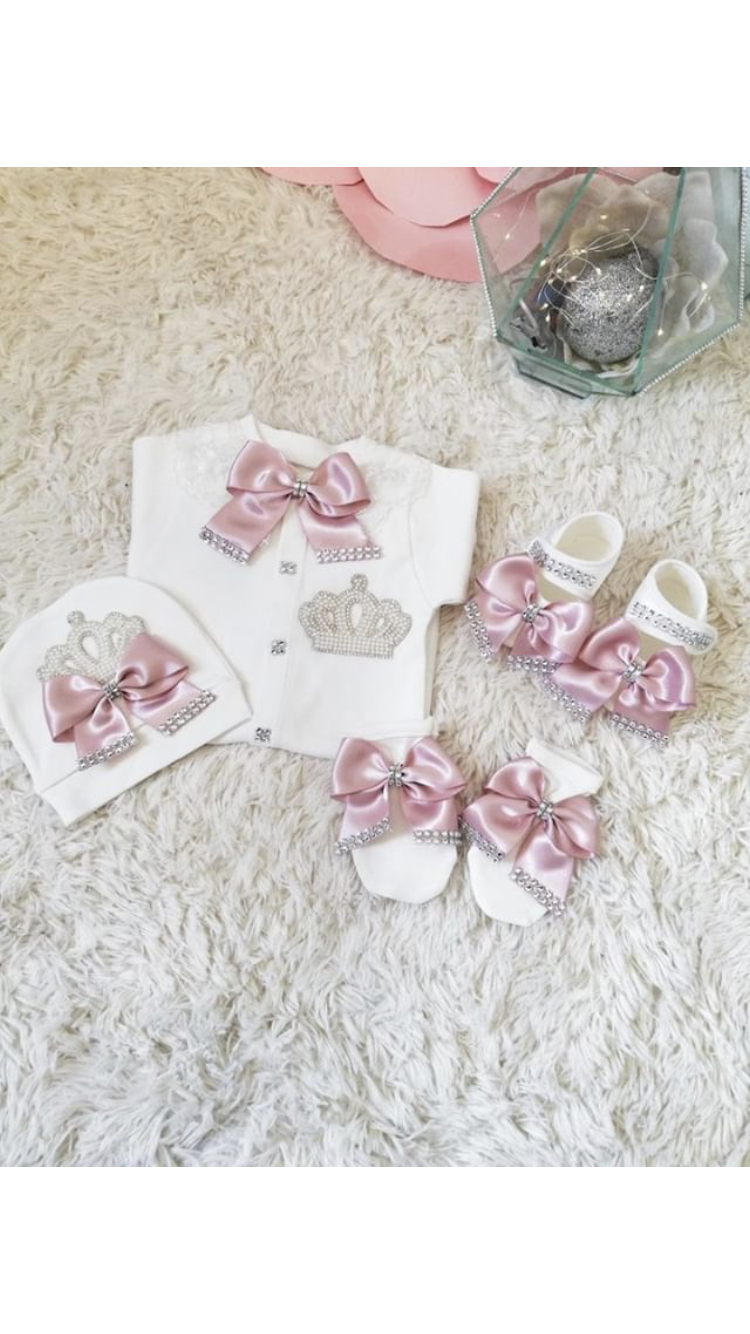 Pink Princess 4 piece Newborn Set Dress