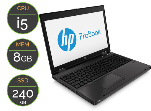 "PC Portable d'occasion HP 6570b - 15.6"" HD - i5 - 8GB - SSD 240 Go - Win10Pro"