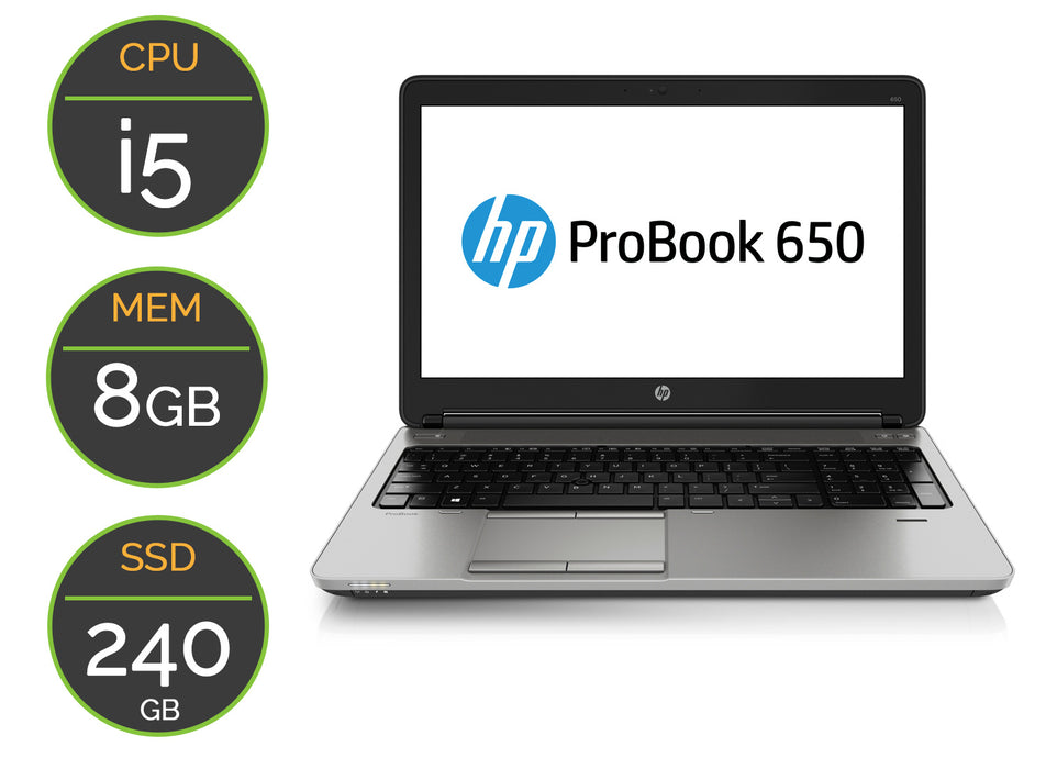 PC portable Occasion HP 650G1 SSD 240GB