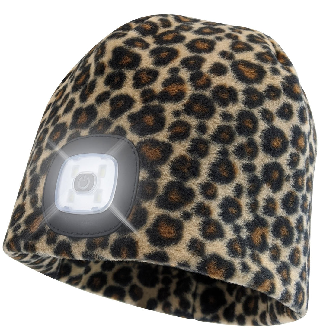Headlightz® Beanie - Fleece - Leopard
