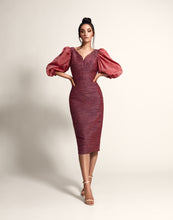 Load image into Gallery viewer, Pencil dress with puff sleeves