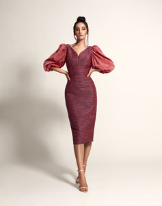 Pencil dress with puff sleeves