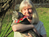 Nancy with cat, Emmy, for Birdsbesafe