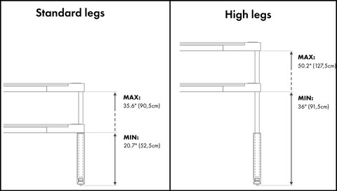 Bedchill standard and high legs dimensions
