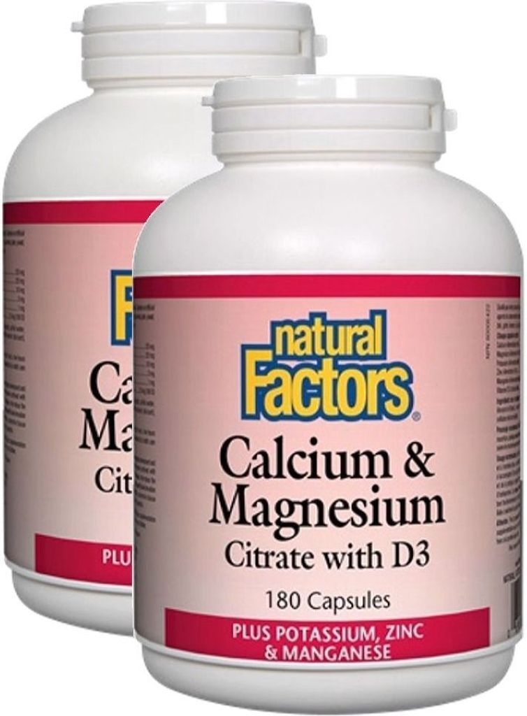 NATURAL FACTORS Calcium Magnesium Citrate (180 caps) 2-Pack
