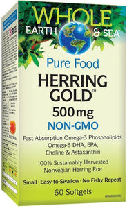 WHOLE EARTH & SEA  Herring Gold Omega -3 ( 500mg - 60 Softgels )
