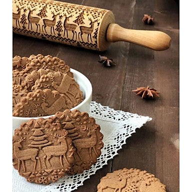 Wood Christmas Cookie Animal Rolling Pin