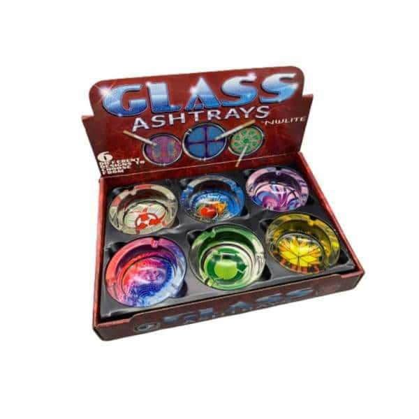 Assorted Glass Ashtray 6ct Display